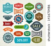vector vintage sale label set... | Shutterstock .eps vector #141670486