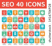 seo 40 icons design set. search ... | Shutterstock .eps vector #1416706928