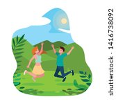happy young couple celebrating... | Shutterstock .eps vector #1416738092