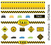 vector set of taxi icons  signs ... | Shutterstock .eps vector #141678646
