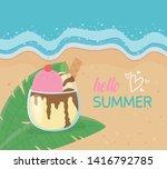 hello summer poster with beach... | Shutterstock .eps vector #1416792785