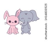cute elephant with rabbit...   Shutterstock .eps vector #1416833525