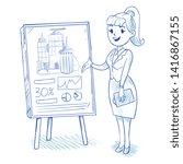 businesswoman presenting new... | Shutterstock . vector #1416867155