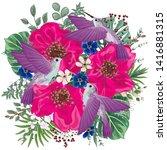 hummingbird with flowers.vector ... | Shutterstock .eps vector #1416881315