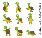 Stock photo cute turtle green tortoise child in various poses characters isolated illustration of green 1416894845