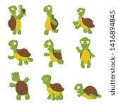 cute turtle. green tortoise... | Shutterstock . vector #1416894845
