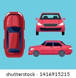 car top  front and size views... | Shutterstock .eps vector #1416915215