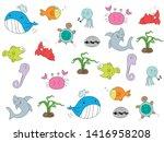 cartoon design of colorful sea... | Shutterstock .eps vector #1416958208
