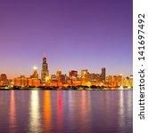 City Of Chicago Usa  Sunset...