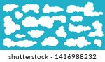 cartoon blue sky with clouds on ... | Shutterstock .eps vector #1416988232