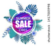 summer sale banner  poster with ... | Shutterstock .eps vector #1417005998