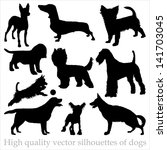 Stock vector high quality vector silhouettes of dogs 141703045