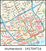 detroit  michigan downtown map | Shutterstock .eps vector #141704716