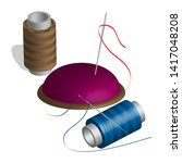 sewing set of spools  threads ... | Shutterstock .eps vector #1417048208