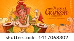 happy ganesh chaturthi banner... | Shutterstock .eps vector #1417068302