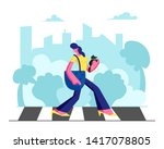 young adorable woman in...   Shutterstock .eps vector #1417078805