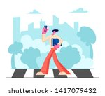 young handsome man in fashioned ...   Shutterstock .eps vector #1417079432
