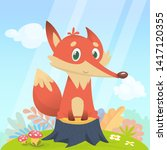 cartoon cute and funny red fox... | Shutterstock . vector #1417120355