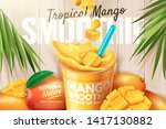 mango smoothie ads with fresh... | Shutterstock .eps vector #1417130882