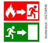 vector fire exit signs   Shutterstock .eps vector #141718948