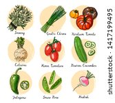 fresh food. set of colored... | Shutterstock .eps vector #1417199495