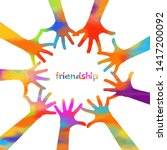 multicolored hands. friendship. ... | Shutterstock . vector #1417200092