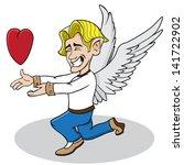 cartoon vector angel giving... | Shutterstock .eps vector #141722902