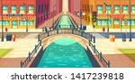city quay  water channel on... | Shutterstock .eps vector #1417239818
