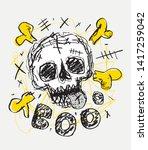 Skull Fun Hand Drawn Vector...
