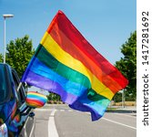 closeup of a rainbow flag in...   Shutterstock . vector #1417281692