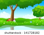 green landscape with easter... | Shutterstock . vector #141728182