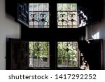 vintage windows with wrought... | Shutterstock . vector #1417292252
