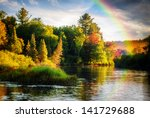 A Scenic Lake Or River During A ...