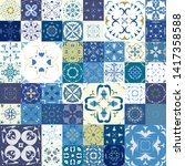 seamless pattern with tiles.... | Shutterstock .eps vector #1417358588