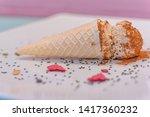 small cone of ice cream with...   Shutterstock . vector #1417360232