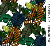 colorful leaves tropic pattern... | Shutterstock .eps vector #1417365098