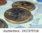 euro coins and bills of...   Shutterstock . vector #1417375718