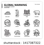 global warming icon set for web ... | Shutterstock .eps vector #1417387322