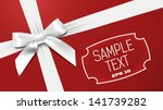 white bow on a red textural... | Shutterstock .eps vector #141739282