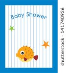 cute baby fish shower card