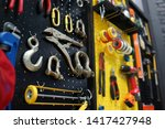 automotive work tools hanging... | Shutterstock . vector #1417427948