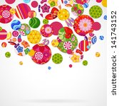 background with floral and... | Shutterstock . vector #141743152