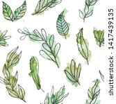 green seamless pattern with... | Shutterstock . vector #1417439135