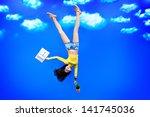 happy girl student standing... | Shutterstock . vector #141745036