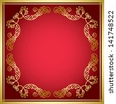 red card with golden frame | Shutterstock . vector #141748522