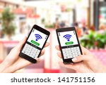 two mobile phones with nfc... | Shutterstock . vector #141751156