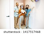 joyful friends coming with...   Shutterstock . vector #1417517468