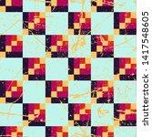 grunge chess pattern. paint... | Shutterstock .eps vector #1417548605
