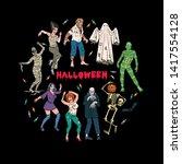 halloween party. set of...   Shutterstock .eps vector #1417554128