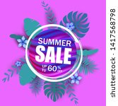 summer sale banner  poster with ... | Shutterstock .eps vector #1417568798